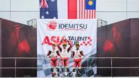 Pembalap AHM, Mario Suryo Aji, berhasil menjuarai balapan pertama seri ketiga Asia Talent Cup 2018 di Sirkuit Sepang, Malaysia, Sabtu (28/7/2018). (AHM)