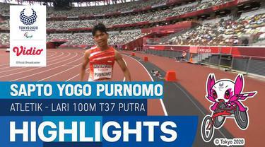 Berita video atlet Indonesia, Saptoyoga Purnomo melaju ke babak final di cabang olahraga atletik nomor lari 100 meter putra klasifikasi T37 di Paralimpiade Tokyo 2020, Jumat (27/8/2021).