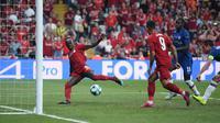 Winger Liverpool, Sadio Mane kala menjebol gawang Chelsea di laga UEFA Super Cup 2019 di Vodafone Arena, Istanbul, Kamis (15/8/2019) dini hari WIB) (Foto: Dok Liverpool)