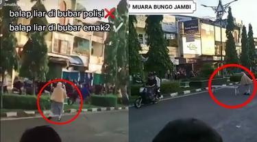 Viral Aksi Balap Liar Dibubarkan Emak-emak di Jambi, Tutup Jalan Pakai Kursi