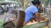 Warga di Kabupaten Jayapura, Papua sedang memeras sagu secara tradisional. (KabarPapua.co/Lazore)