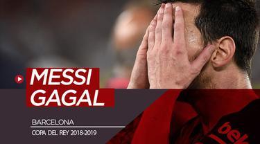 Berita video kegagalan Lionel Messi mengantarkan Barcelona menjadi juara Copa del Rey 2018-2019 setelah kalah 1-2 dari Valencia pada partai final.