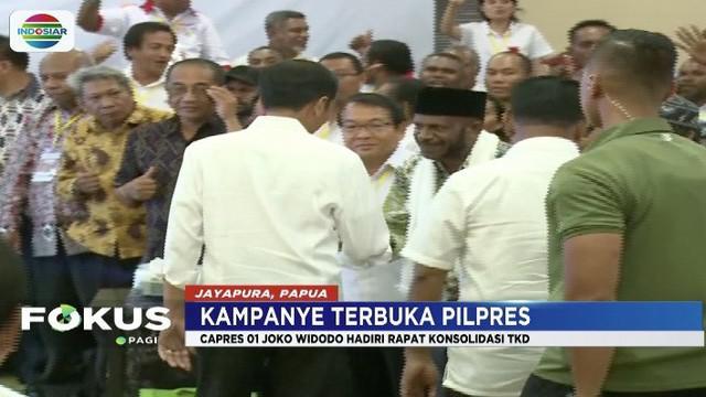Rapat konsolidasi dengan Tim Kampanye Daerah Papua, Jokowi sampaikan agar pendukung bisa raup suara sebesar 85 persen.