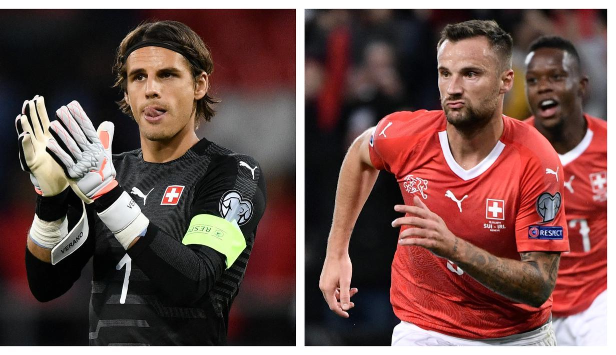 Timnas Swiss akan melakoni laga perdana mereka di Grup A Euro 2020 (Euro 2021), Sabtu (12/6/2021) malam WIB. Berikut 5 pemain kunci yang dapat merepotkan Wales, di antaranya striker Haris Seferovic dan tentunya kiper senior Yann Sommer. (Foto: Kolase AFP)