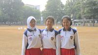 Calon Paskibraka 2019 dari Kalimantan. Dari kiri ke kanan mereka adalah Arina Qanita dari Kalimantan Timur, Ivana Maria Suilyn Tangkere dari Kalimantan Tengah, dan Thalia Putri Andriani dari Kalimantan Barat. (Foto: Liputan6.com/Aditya Eka Prawira).