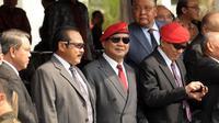 Ketua Umum Partai Gerindra Prabowo Subianto hadir dalam upacara Sertijab Danjen Kopassus di Mako Kopassus, Jakarta, Jumat (24/10/2014). (Liputan6.com/Helmi Fithriansyah)