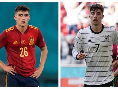 Menjadi kebanggaan tersendiri bagi para pemain muda yang tampil dalam ajang Euro 2020 (Euro 2021). Mereka telah mendapatkan kepercayaan dari pelatih untuk tampil bersama para seniornya. Berikut 5 pemain muda yang tampil menawan di fase grup Euro 2020. (Foto: Kolase AP)