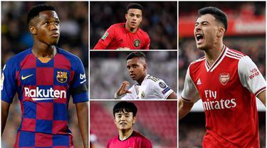Berikut ini barisan talenta muda yang akan meramaikan Piala Dunia U-20 2021. Diantaranya adalah Mason Greenwood, ANsu Fati dan Takefusa Kubo. (Kolase Foto AFP)