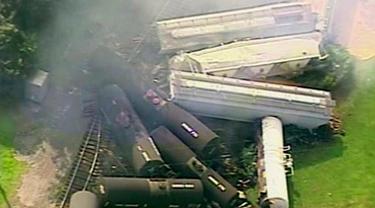 Kereta tergelincir di Hyndman, Pennsylvania, AS. (AP)