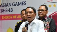 Menpora Zainudin Amali memberikan keterangan pers perihal gelaran Pekan Olahraga Tradisional Tingkat Nasional (Potradnas) VII 2019 di Media Centre Kemenpora.