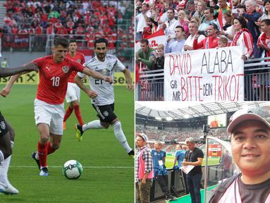 Jurnalis Bola.com, Reza Khomaini, berkesempatan meliput laga persahabatan antara Austria melawan Jerman di Stadion Woerthersee, Klagenfurt. Pertandingan tersebut dimenangi Austria dengan skor 2-1 atas Jerman. (Kolase foto-foto Reza Khomaini)