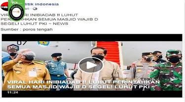 Gambar Tangkapan Layar Kabar Luhut Binsar Pandjaitan Perintahkan Menyegel Semua Masjid (sumber: Facebook).