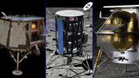 Pendarat Orbit Beyond (kiri), pendarat Intuitive Machines (tengah), dan pendarat Astrobotic (kanan). (NASA)