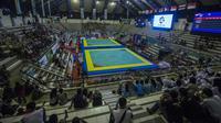 Suasana kemeriahan pada Invitation Tournament cabang pencak silat di Padepokan Pencak Silat, Jakarta, Rabu (14/2/2018). Event ini merupakan persiapan Asian Games 2018. (Bola.com/Vitalis Yogi Trisna)