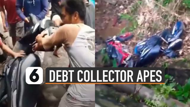 Nasib apes dialami oleh para debt collector ini karena motornya dibuang warga ke sungai.