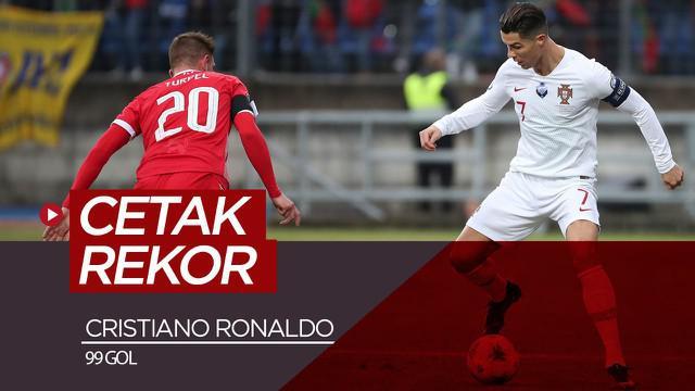 Berita video bintang Portugal, Cristiano Ronaldo, mencetak gol ke-99 untuk negaranya setelah dalam pertandingan nama Lionel Messi disebut. Apa yang terjadi?