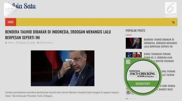 Media sosial dihebohkan dengan rumor Presiden Turki Recep Tayyip Erdogan menangis dan kecam pembakaran bendera HTI di Garut.