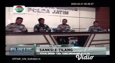 Sudah satu bulan Kepolisian Daerah Jawa Timur telah melakukan tilang elektronik CCTV di kota Surabaya dari hasil program e-Tilang telah melakukan tilang sebanyak 6035 pelanggar.
