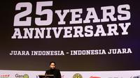 Pemilik Satria Muda, Erick Thohir, memberikan sambutan saat peluncuran film 25 tahun Satria Muda di XXI Epicentrum, Jakarta, Kamis (15/11). Peluncuran ini dalam rangka peringatan hari jadi SM yang ke-25 tahun. (Bola.com/Yoppy Renato)