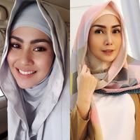 Kartika Putri dan Fenita Arie berhijab. (kartikaputriworld, fenitarie/Instagram)