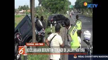 Kecelakaan beruntun antara tiga kendaraan terjadi di jalur pantura Probolinggo-Pasuruan. Sebuah jeep menabrak satu minibus dan bus penumpang.