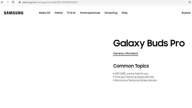 Laman web Samsung sempat bocorkan informasi nama Galaxy Buds Pro. (Doc: Twitter/ @rquandt)