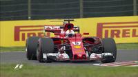 Pebalap Ferrari, Sebastian Vettel, mengukir waktu lap tercepat pada FP1 GP Jepang di Sirkuit Suzuka, Jumat (6/10/2017). (Twitter/F1)