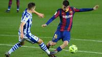 Gelandang Barcelona, Pedri, menyebut kunci kemenangan 2-1 yang diraih timnya atas Real Sociedad adalah motivasi dan semangat tak ingin menyerah. (AFP/Lluis Gene)