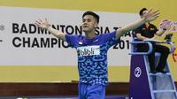 Ekspresi Firman Abdul Kholik setelah mengalahkan pemain Korea, Lee Dong-keun, pada semifinal Kejuaraan Bulutangkis Asia Beregu 2018, Sabtu (10/2/2018). (PBSI)
