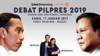 Debat capres dan cawapres 2019 edisi perdana akan disiarkan www.sulawesita.com secara live streaming.(Www.sulawesita.com)