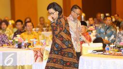 Menkeu Sri Mulyani Indrawati hadiri acara penetapan nama Gedung Utama Kantor Pusat DJP, Jakarta, Kamis (19/1). Mantan Menkeu Mar'ie Muhammad meninggal pada 11 Desember 2016 lalu. (Liputan6.com/Immanuel Antonius)