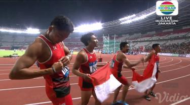 Lari estafet putra sumbang medali perak bagi Indonesia. Lalu Muhammad Zohri dkk hanya kalah cepat dari Jepang.