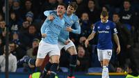 Manchester City menang 2-0 atas Everton pada laga lanjutan Premier League, di Goodison Park, Rabu (6/2/2019). (AFP/Paul Ellis)