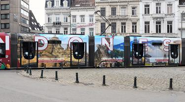 KBRI Brussel memamerkan keindahan Indonesia di tram Belgia guna menarik wisatawan asing pasca pandemi COVID-19.