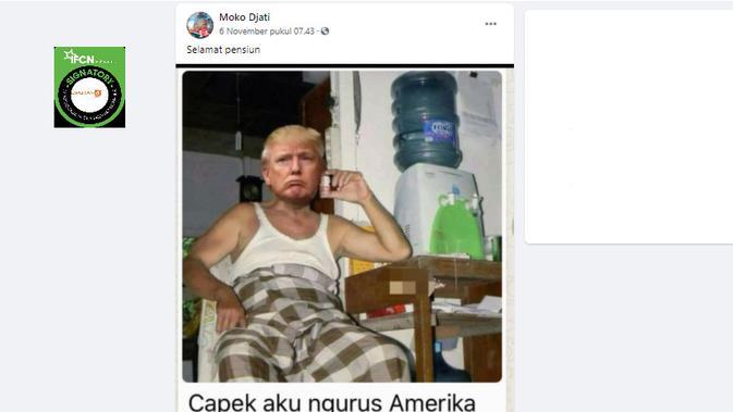 Cek Fakta Liputan6.com menelusuri klaim foto Donald Trump mengenakan sarung setelah pensiun