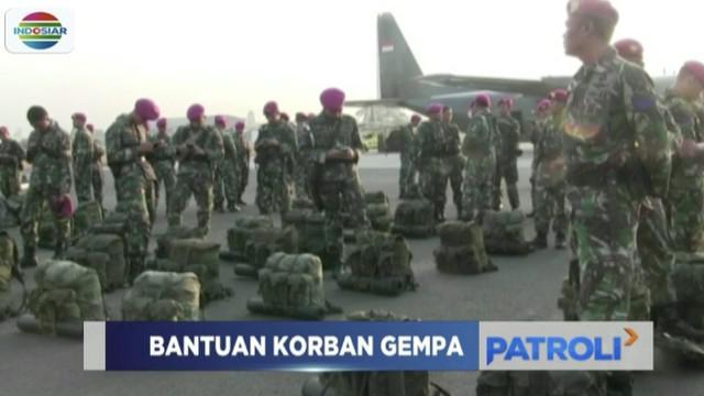 Satuan yang membawa obat-obatan, bahan makanan, hingga tenda rumah sakit ini diberangkatkan ke lokasi gempa di Nusa Tenggara Barat