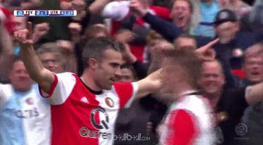 Berita video mantan striker Manchester United, Robin van Persie, mencetak gol kelimanya di Eredivisie bersama Feyenoord. This video presented by BallBall.