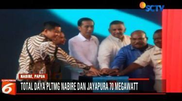 Presiden Jokowi meresmikan dua Pembangkit Listrik Tenaga Mesin Gas (PLTMG) Nabire dan Jayapura di Papua dan Papua Barat.
