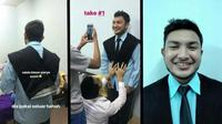 Cara nyeleneh fotografer untuk foto paspor bagi pelanggannya. (Sumber: Istimewa)