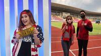 Michelle Kuhnle saat mendapat golden ticket dari Indonesian Idol (kiri). Michelle Kuhnle berfoto dengan Kaesang Pangarep di Stadion Manahan, Solo (kanan). (Instagram/@michellekuhnleofficial)