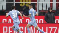 Selebrasi Pemain Lazio saat mengalahkan AC Milan (AP)