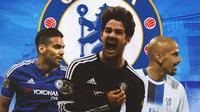 Chelsea - Falcao, Alexandre Pato, Juan Sebastian Veron (Bola.com/Adreanus Titus)