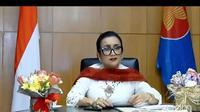Sri Astari Rasjid, Duta Besar RI untuk Bulgaria, Makedonia Utara dan Albania dalam acara webinar bersama para Dubes RI wanita pada Selasa 21 April 2020.