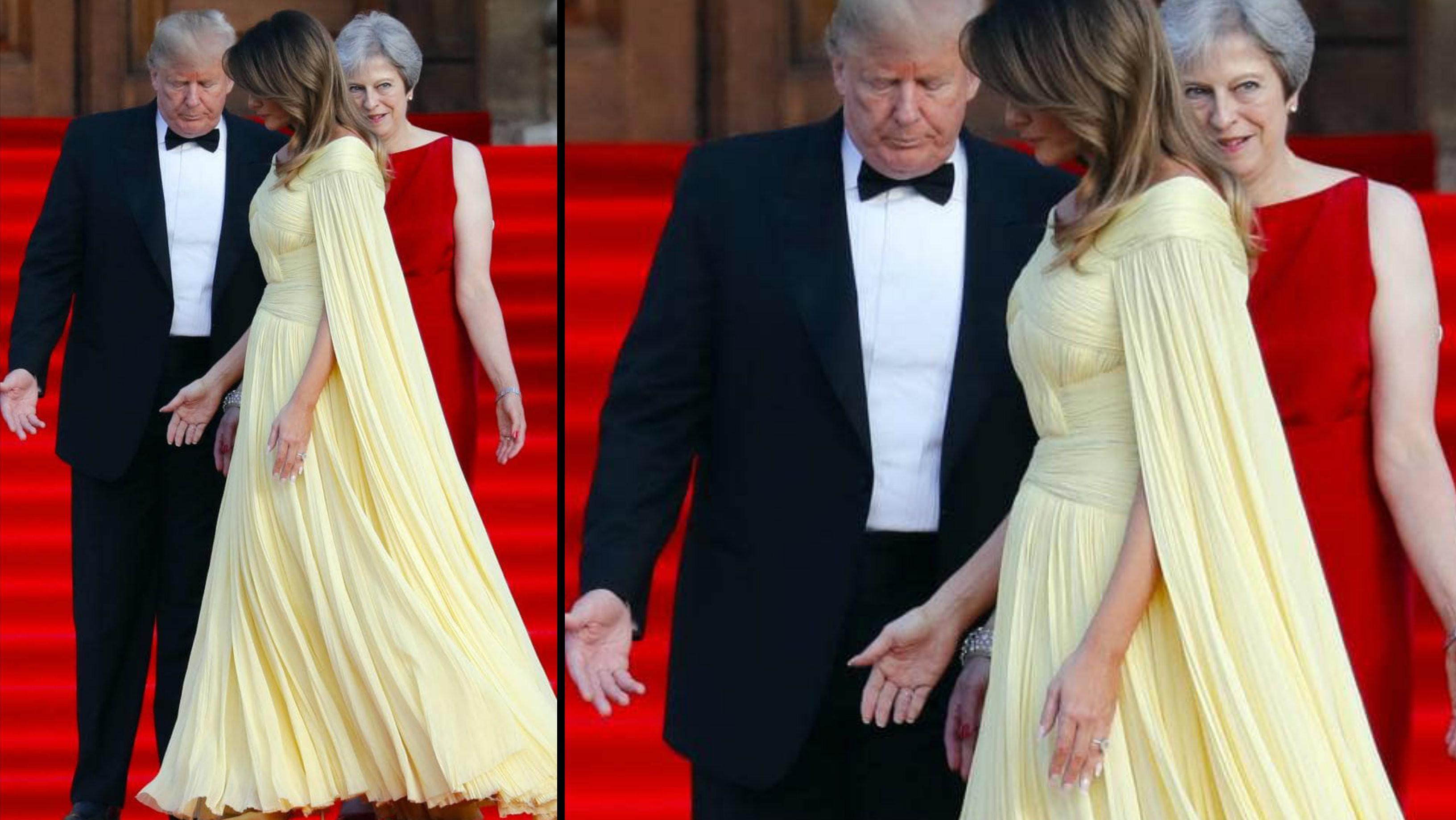 Melania Trump mengenakan gaun kuning dan disebut mirip putri Disney di film Beauty and the Beast. (AP)