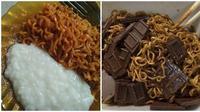 Cara nyeleneh makan mi goreng (Sumber: Twitter/FFOODFESS)