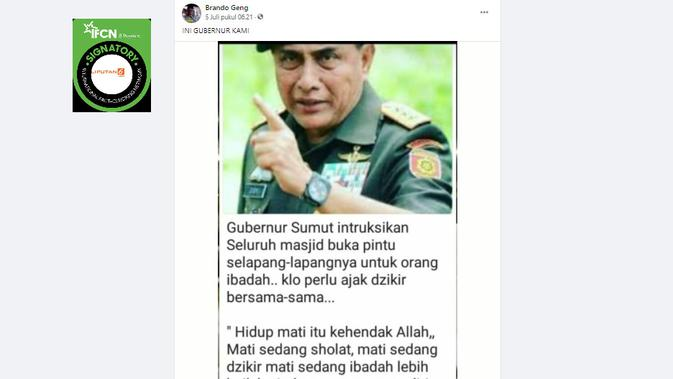 Cek Fakta Liputan6.com menelusuri klaim Gubernur Sumut instruksikan seluruh masjid dibuka