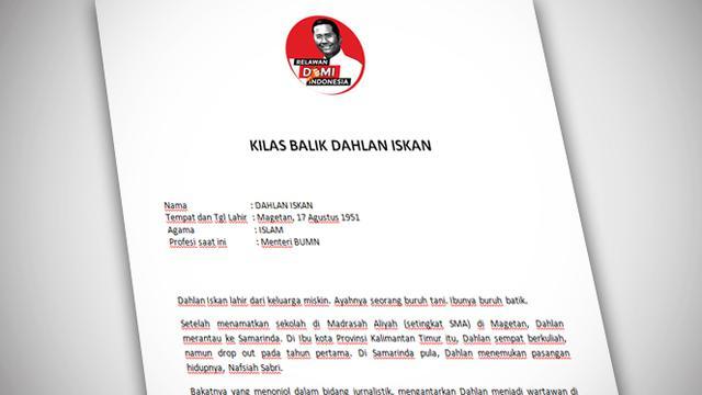 Tim Sukses Demi Indonesia Sebar Curriculum Vitae Dahlan Iskan