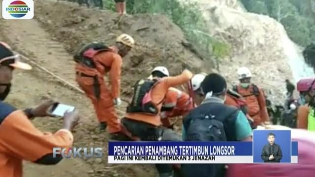 Tim SAR kembali menemukan tiga jenazah korban penambang emas ilegal di Bplaang Mongondow, Sulawesi Utara.