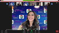 Masayu Anastasia pemain FTV Suara Hati Istri Indosiar di sela-sela press conference virtual di Jakarta, Kamis (11/6/2020)
