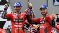 Duo Ducati, Pecco Bagnaia dan Jack Miller pada kualifikasi MotoGP Aragon. (LLUIS GENE / AFP)
